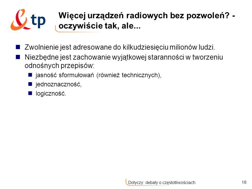18 Dotyczy: debaty o częstotliwościach Więcej urządzeń radiowych bez pozwoleń.