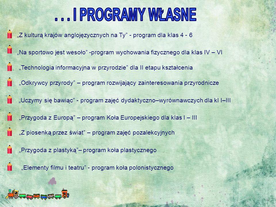 """""""Przygoda z plastyką""""– program koła plastycznego """"Z kulturą krajów anglojęzycznych na Ty"""" - program dla klas 4 - 6 """"Przygoda z Europą"""" – program Koła"""