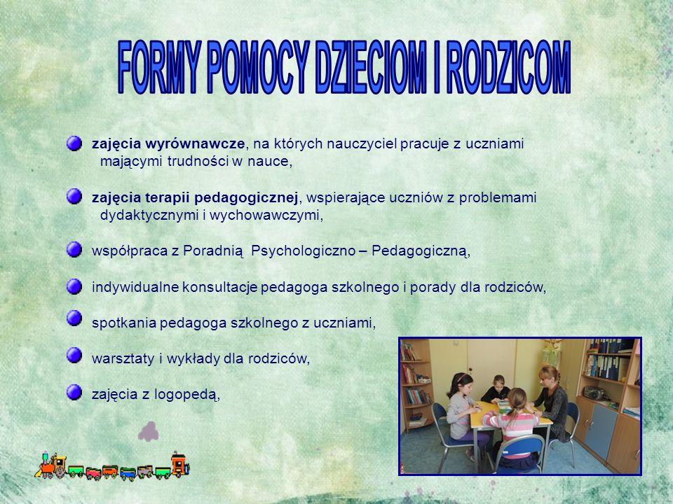 zajęcia wyrównawcze, na których nauczyciel pracuje z uczniami mającymi trudności w nauce, zajęcia terapii pedagogicznej, wspierające uczniów z problemami dydaktycznymi i wychowawczymi, współpraca z Poradnią Psychologiczno – Pedagogiczną, indywidualne konsultacje pedagoga szkolnego i porady dla rodziców, spotkania pedagoga szkolnego z uczniami, warsztaty i wykłady dla rodziców, zajęcia z logopedą,