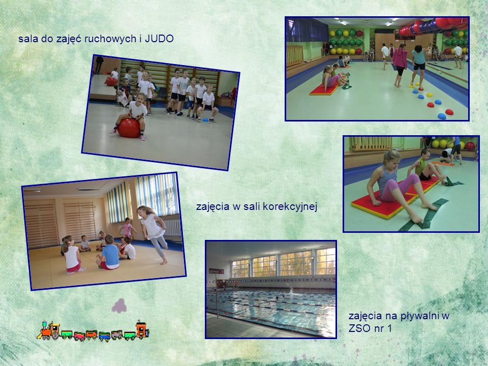 zajęcia na sali korekcyjnej sala do zajęć ruchowych i JUDO zajęcia na pływalni w ZSO nr 1 zajęcia w sali korekcyjnej