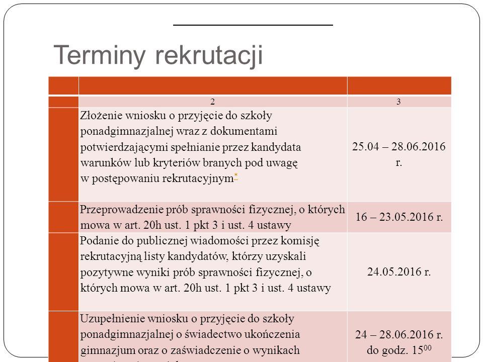 Terminy rekrutacji 23 Złożenie wniosku o przyjęcie do szkoły ponadgimnazjalnej wraz z dokumentami potwierdzającymi spełnianie przez kandydata warunków lub kryteriów branych pod uwagę w postępowaniu rekrutacyjnym * * 25.04 – 28.06.2016 r.