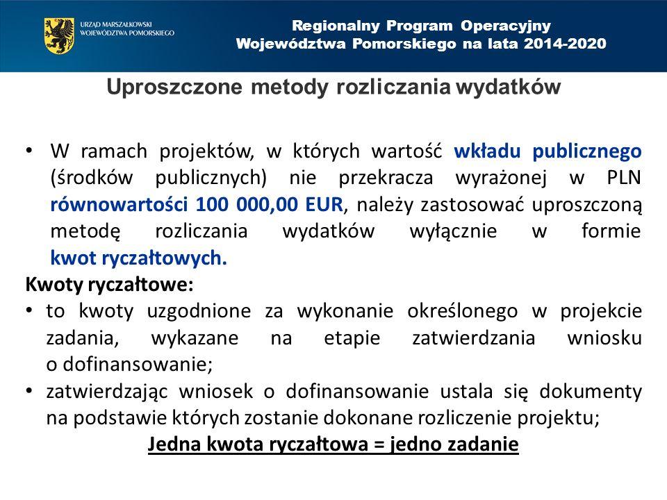 Regionalny Program Operacyjny Województwa Pomorskiego na lata 2014-2020 Uproszczone metody rozliczania wydatków W ramach projektów, w których wartość wkładu publicznego (środków publicznych) nie przekracza wyrażonej w PLN równowartości 100 000,00 EUR, należy zastosować uproszczoną metodę rozliczania wydatków wyłącznie w formie kwot ryczałtowych.