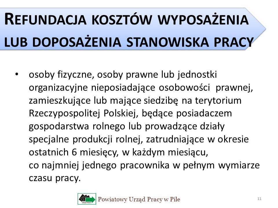 Powiatowy Urząd Pracy w Pile 11 R EFUNDACJA KOSZTÓW WYPOSAŻENIA LUB DOPOSAŻENIA STANOWISKA PRACY osoby fizyczne, osoby prawne lub jednostki organizacyjne nieposiadające osobowości prawnej, zamieszkujące lub mające siedzibę na terytorium Rzeczypospolitej Polskiej, będące posiadaczem gospodarstwa rolnego lub prowadzące działy specjalne produkcji rolnej, zatrudniające w okresie ostatnich 6 miesięcy, w każdym miesiącu, co najmniej jednego pracownika w pełnym wymiarze czasu pracy.