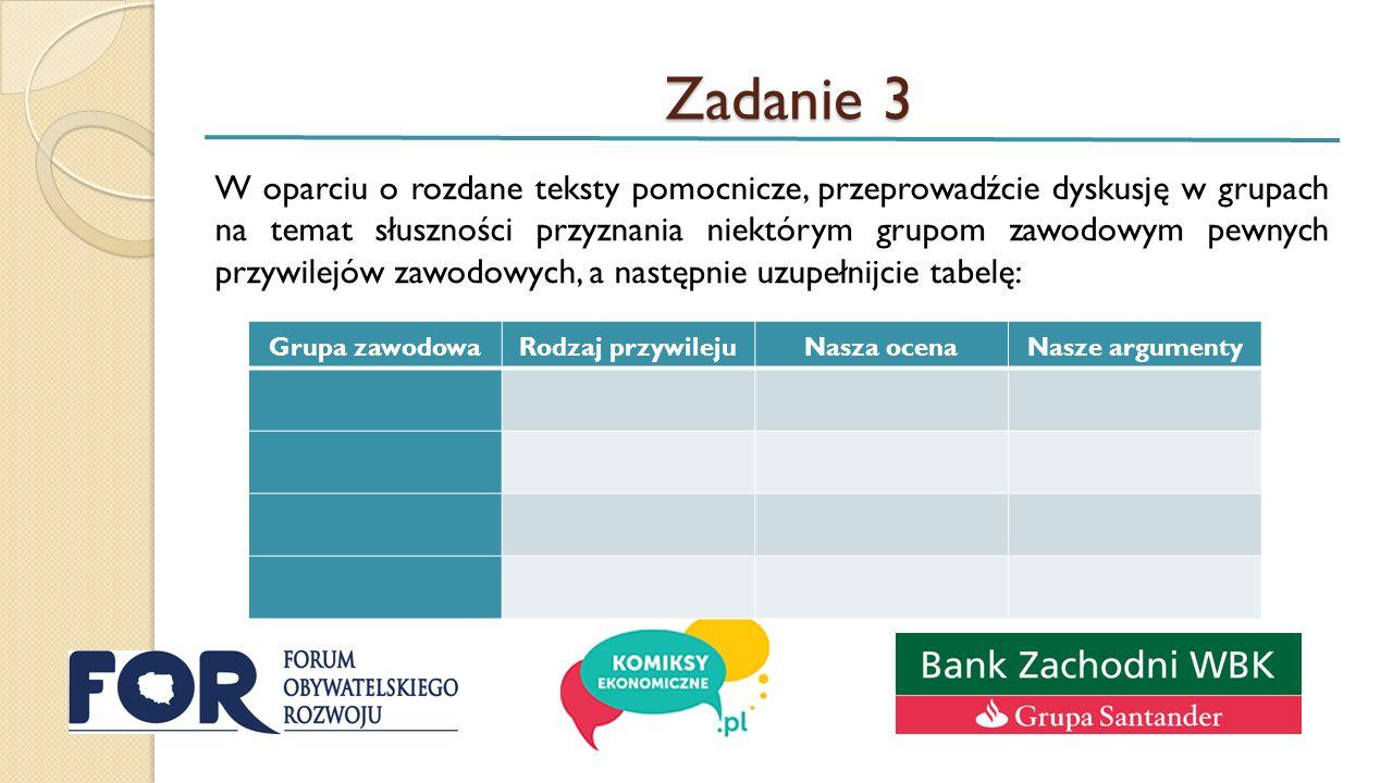Zadanie 3 W oparciu o rozdane teksty pomocnicze, przeprowadźcie dyskusję w grupach na temat słuszności przyznania niektórym grupom zawodowym pewnych przywilejów zawodowych, a następnie uzupełnijcie tabelę: Grupa zawodowaRodzaj przywilejuNasza ocenaNasze argumenty