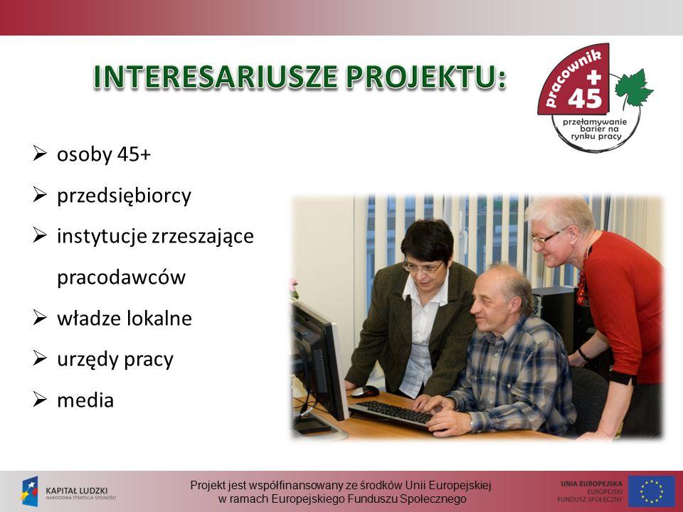 Projekt jest współfinansowany ze środków Unii Europejskiej w ramach Europejskiego Funduszu Społecznego  osoby 45+  przedsiębiorcy  instytucje zrzeszające pracodawców  władze lokalne  urzędy pracy  media
