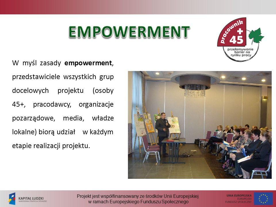 Projekt jest współfinansowany ze środków Unii Europejskiej w ramach Europejskiego Funduszu Społecznego W myśl zasady empowerment, przedstawiciele wszystkich grup docelowych projektu (osoby 45+, pracodawcy, organizacje pozarządowe, media, władze lokalne) biorą udział w każdym etapie realizacji projektu.