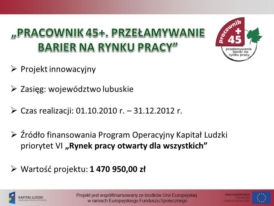 Projekt jest współfinansowany ze środków Unii Europejskiej w ramach Europejskiego Funduszu Społecznego  Projekt innowacyjny  Wartość projektu: 1 470 950,00 zł  Zasięg: województwo lubuskie  Czas realizacji: 01.10.2010 r.
