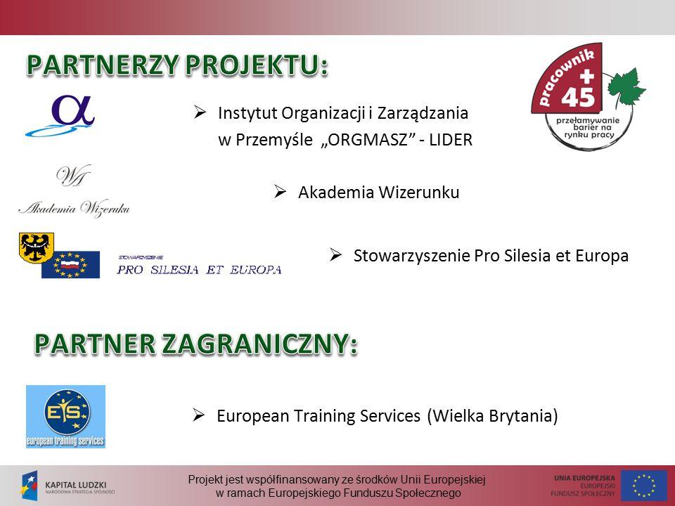 """Projekt jest współfinansowany ze środków Unii Europejskiej w ramach Europejskiego Funduszu Społecznego  Instytut Organizacji i Zarządzania w Przemyśle """"ORGMASZ - LIDER  Akademia Wizerunku  Stowarzyszenie Pro Silesia et Europa  European Training Services (Wielka Brytania)"""