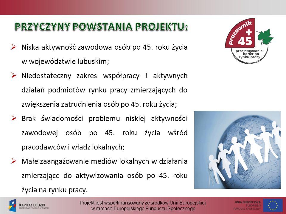 Projekt jest współfinansowany ze środków Unii Europejskiej w ramach Europejskiego Funduszu Społecznego  Niska aktywność zawodowa osób po 45.