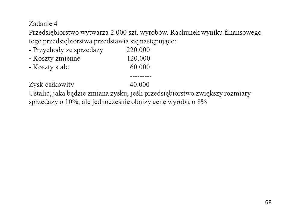 68 Zadanie 4 Przedsiębiorstwo wytwarza 2.000 szt.wyrobów.
