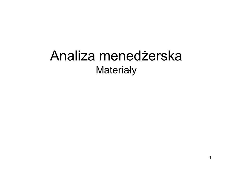 2 Analizę menadżerską charakteryzuje: - Wysoki stopień uogólnienia - Agregacja zjawisk gospodarczych - Ujęcie finansowe
