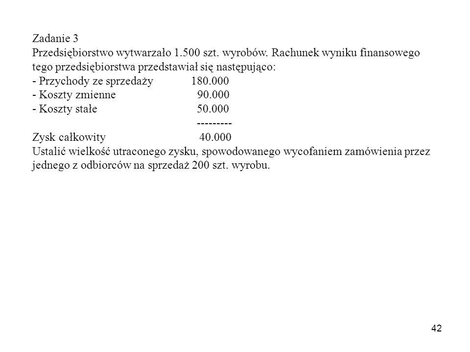 42 Zadanie 3 Przedsiębiorstwo wytwarzało 1.500 szt.