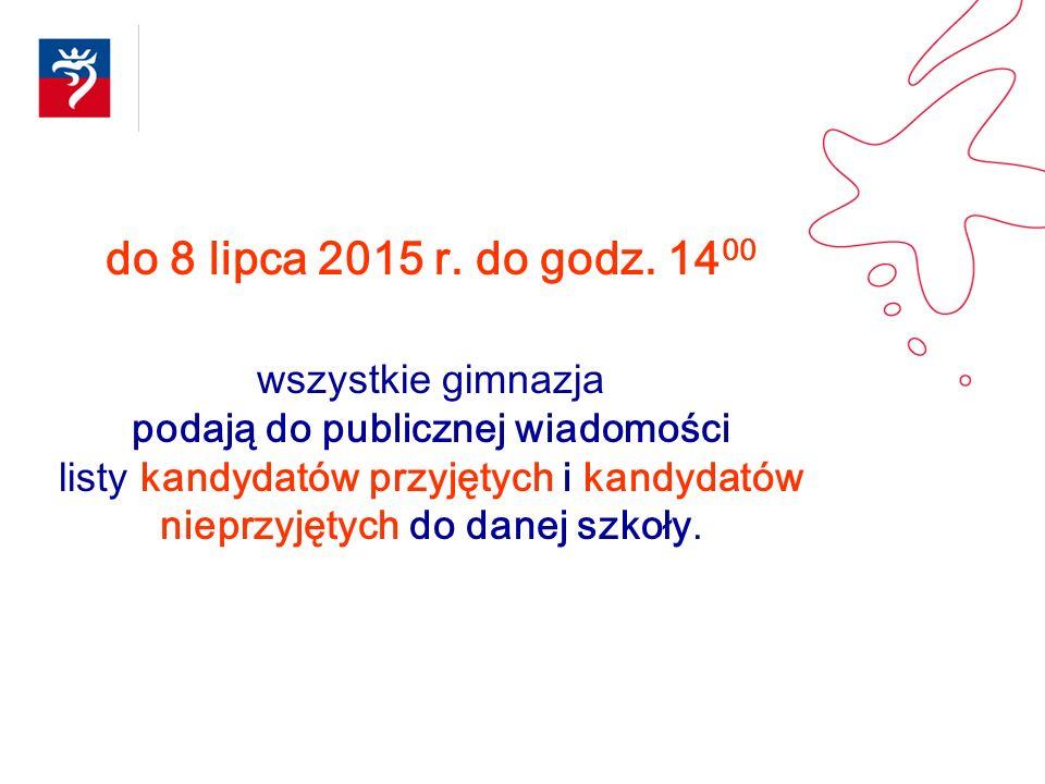 do 8 lipca 2015 r. do godz. 14 00 wszystkie gimnazja podają do publicznej wiadomości listy kandydatów przyjętych i kandydatów nieprzyjętych do danej s