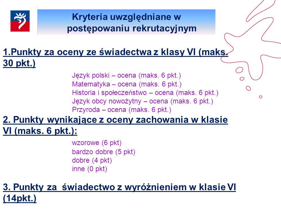 Kryteria uwzględniane w postępowaniu rekrutacyjnym 1.Punkty za oceny ze świadectwa z klasy VI (maks. 30 pkt.) Język polski – ocena (maks. 6 pkt.) Mate