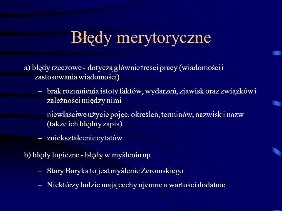 Typologia błędów językowych.