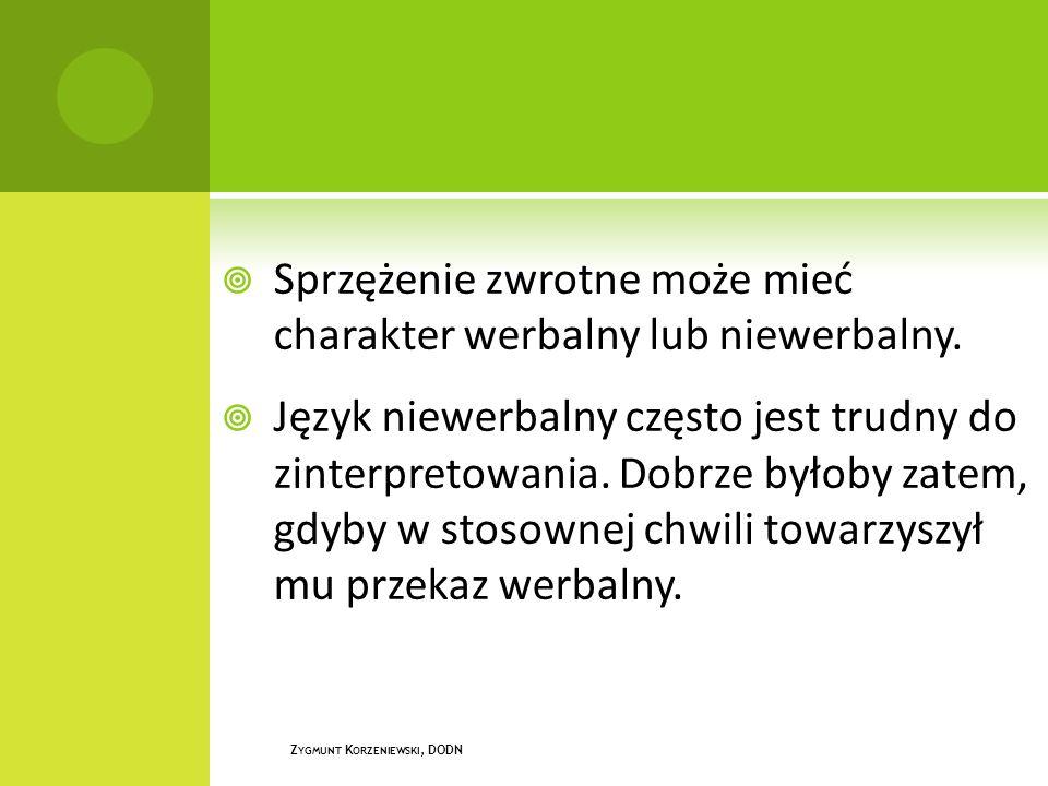  Sprzężenie zwrotne może mieć charakter werbalny lub niewerbalny.  Język niewerbalny często jest trudny do zinterpretowania. Dobrze byłoby zatem, gd