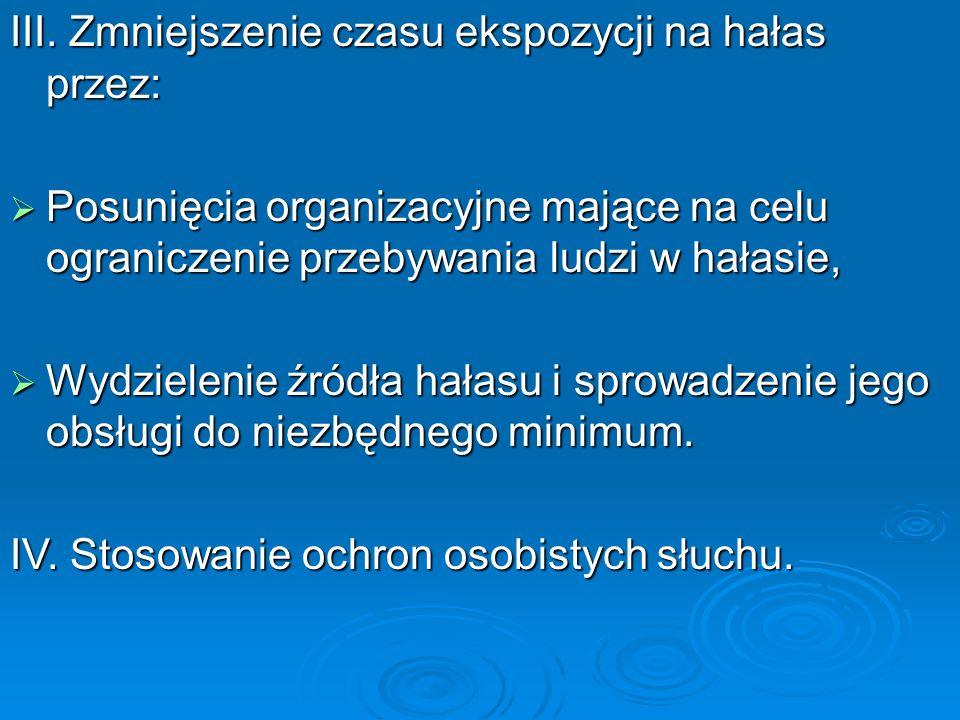 III. Zmniejszenie czasu ekspozycji na hałas przez:  Posunięcia organizacyjne mające na celu ograniczenie przebywania ludzi w hałasie,  Wydzielenie ź