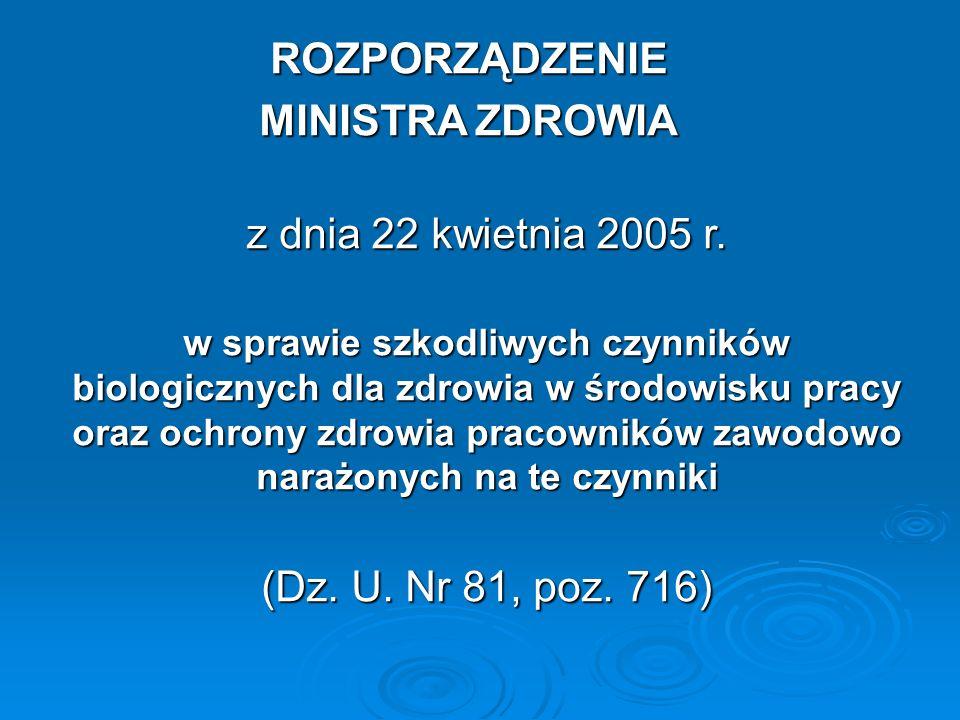 ROZPORZĄDZENIE MINISTRA ZDROWIA z dnia 22 kwietnia 2005 r.