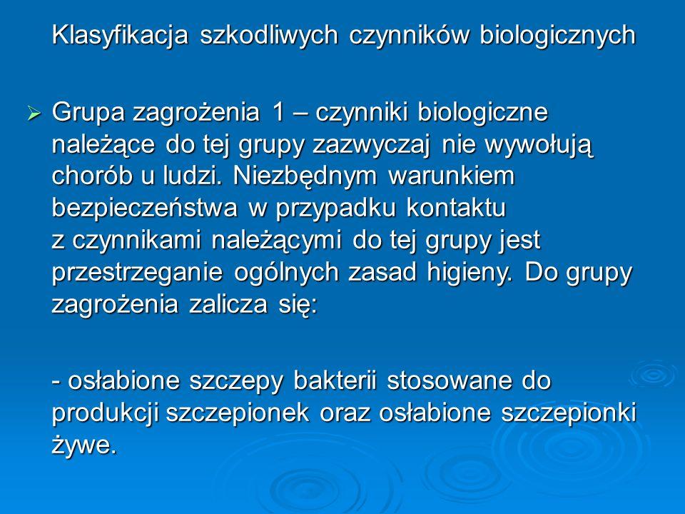 Klasyfikacja szkodliwych czynników biologicznych  Grupa zagrożenia 1 – czynniki biologiczne należące do tej grupy zazwyczaj nie wywołują chorób u ludzi.