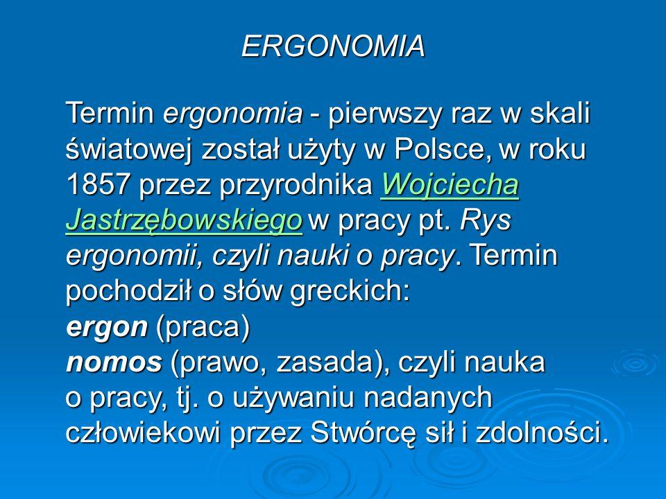 ERGONOMIA Termin ergonomia - pierwszy raz w skali światowej został użyty w Polsce, w roku 1857 przez przyrodnika Wojciecha Jastrzębowskiego w pracy pt.