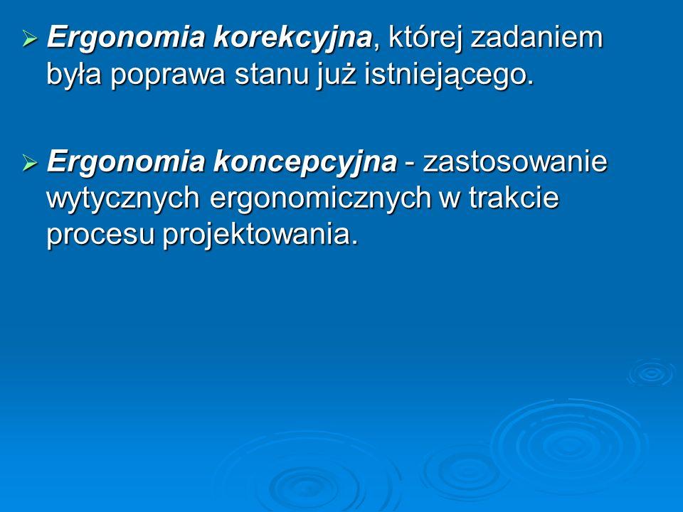  Ergonomia korekcyjna, której zadaniem była poprawa stanu już istniejącego.