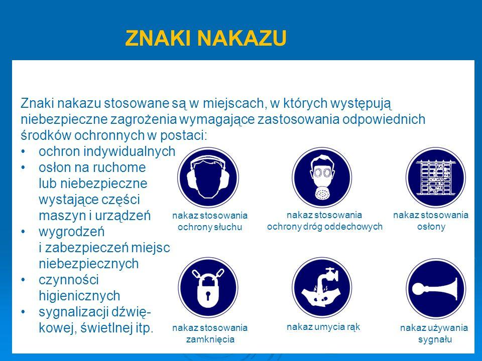 nakaz stosowania ochrony słuchu nakaz stosowania ochrony dróg oddechowych nakaz stosowania osłony nakaz stosowania zamknięcia nakaz umycia rąk nakaz używania sygnału Znaki nakazu stosowane są w miejscach, w których występują niebezpieczne zagrożenia wymagające zastosowania odpowiednich środków ochronnych w postaci: ochron indywidualnych osłon na ruchome lub niebezpieczne wystające części maszyn i urządzeń wygrodzeń i zabezpieczeń miejsc niebezpiecznych czynności higienicznych sygnalizacji dźwię- kowej, świetlnej itp.