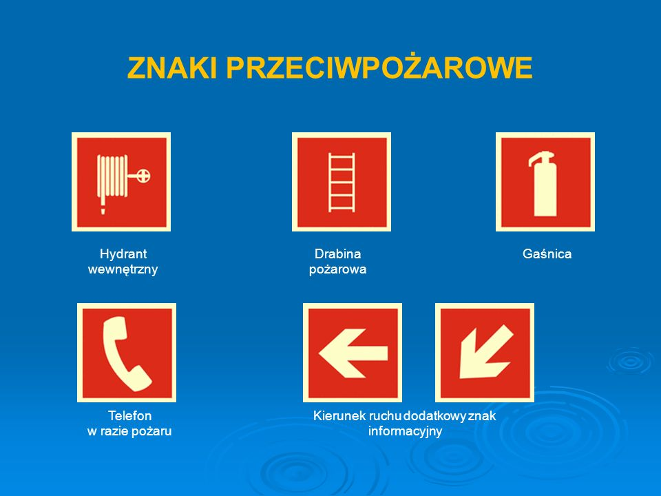 Drabina pożarowa Kierunek ruchu dodatkowy znak informacyjny Gaśnica Telefon w razie pożaru Hydrant wewnętrzny ZNAKI PRZECIWPOŻAROWE