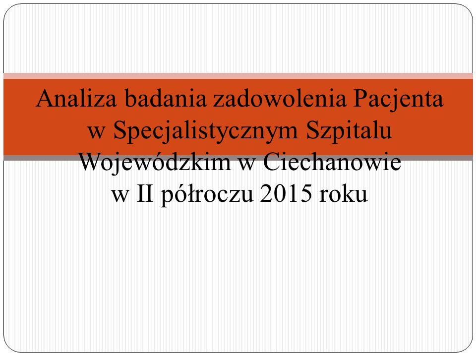 Analiza badania zadowolenia Pacjenta w Specjalistycznym Szpitalu Wojewódzkim w Ciechanowie w II półroczu 2015 roku
