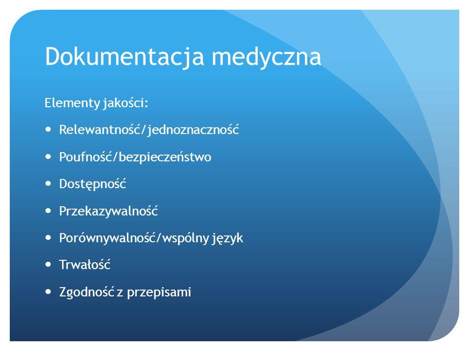 Dokumentacja medyczna Elementy jakości: Relewantność/jednoznaczność Poufność/bezpieczeństwo Dostępność Przekazywalność Porównywalność/wspólny język Trwałość Zgodność z przepisami