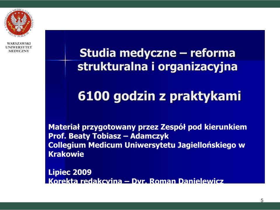 Warunki wyjściowe realizacji reformy (1) 1) Zmiana przepisów prawnych, która umożliwi dopuszczenie studentów do wykonywania czynności medycznych z pacjentem i w zespole leczniczym 2) Wyposażenie uczelni medycznych w laboratoria do nauczania umiejętności klinicznych oraz zapewnienie nakładów finansowych na ich dalsze utrzymywanie 3) Konieczne jest uzyskanie akredytacji dydaktycznej przez szpitale, prowadzące zajęcia ze studentami
