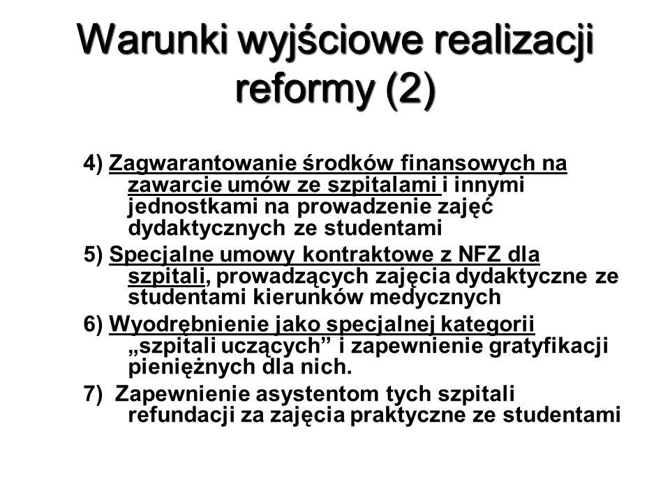 """Warunki wyjściowe realizacji reformy (2) 4) Zagwarantowanie środków finansowych na zawarcie umów ze szpitalami i innymi jednostkami na prowadzenie zajęć dydaktycznych ze studentami 5) Specjalne umowy kontraktowe z NFZ dla szpitali, prowadzących zajęcia dydaktyczne ze studentami kierunków medycznych 6) Wyodrębnienie jako specjalnej kategorii """"szpitali uczących i zapewnienie gratyfikacji pieniężnych dla nich."""