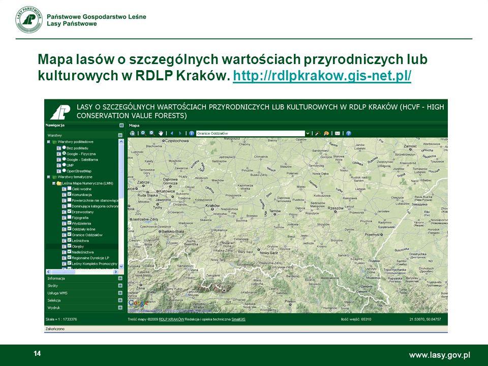 14 Mapa lasów o szczególnych wartościach przyrodniczych lub kulturowych w RDLP Kraków.