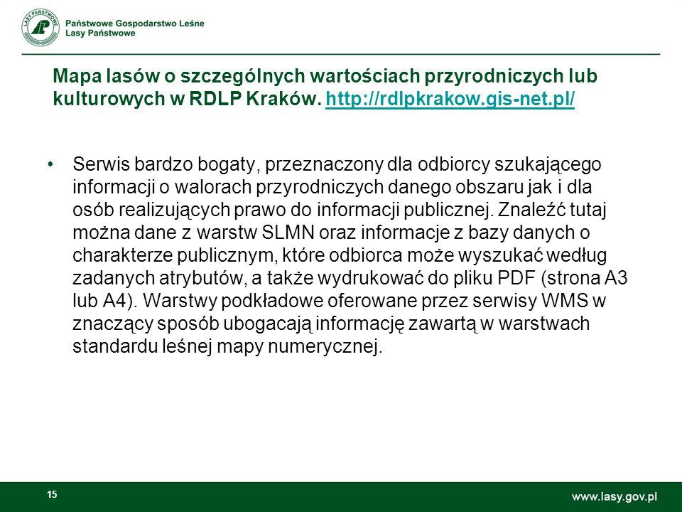 15 Mapa lasów o szczególnych wartościach przyrodniczych lub kulturowych w RDLP Kraków.