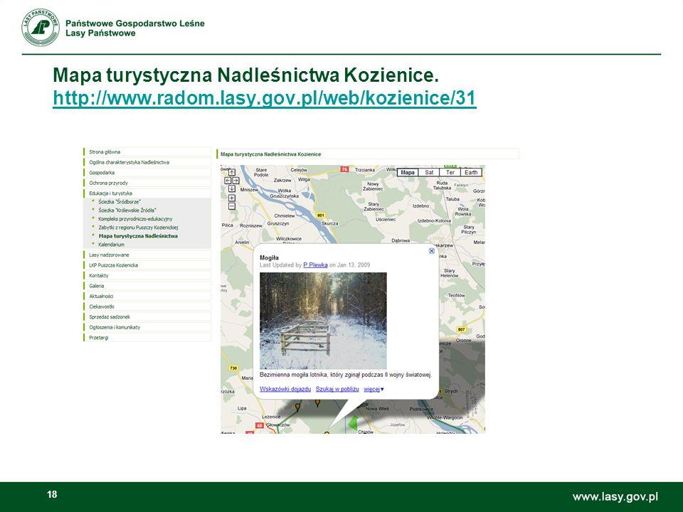 18 Mapa turystyczna Nadleśnictwa Kozienice.
