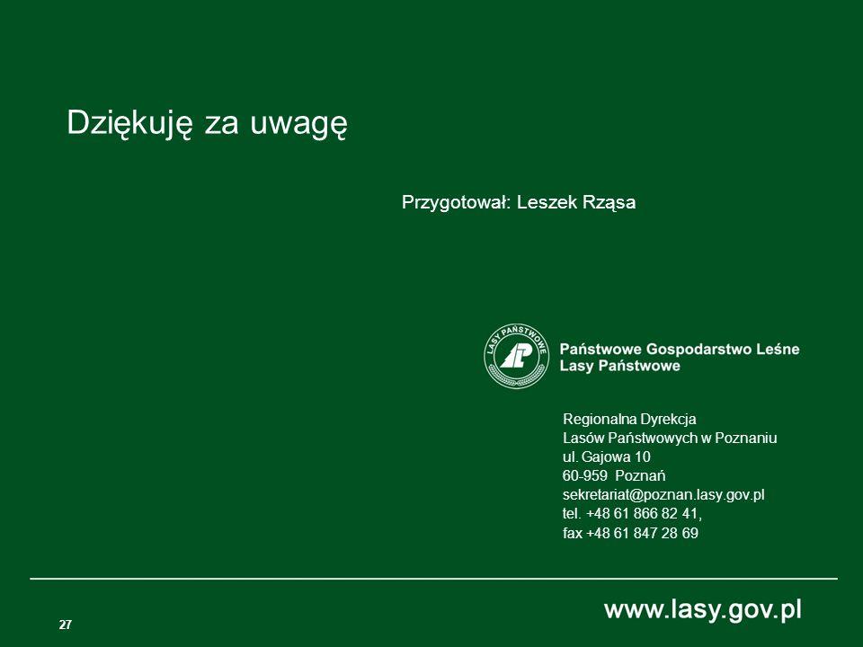 27 Regionalna Dyrekcja Lasów Państwowych w Poznaniu ul.