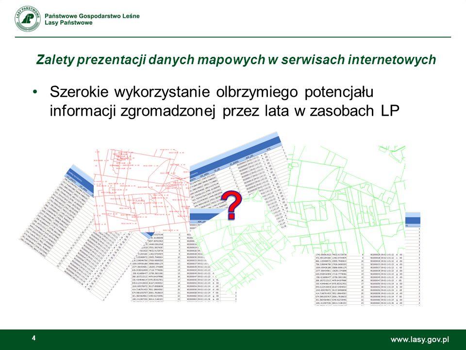 4 Zalety prezentacji danych mapowych w serwisach internetowych Szerokie wykorzystanie olbrzymiego potencjału informacji zgromadzonej przez lata w zasobach LP
