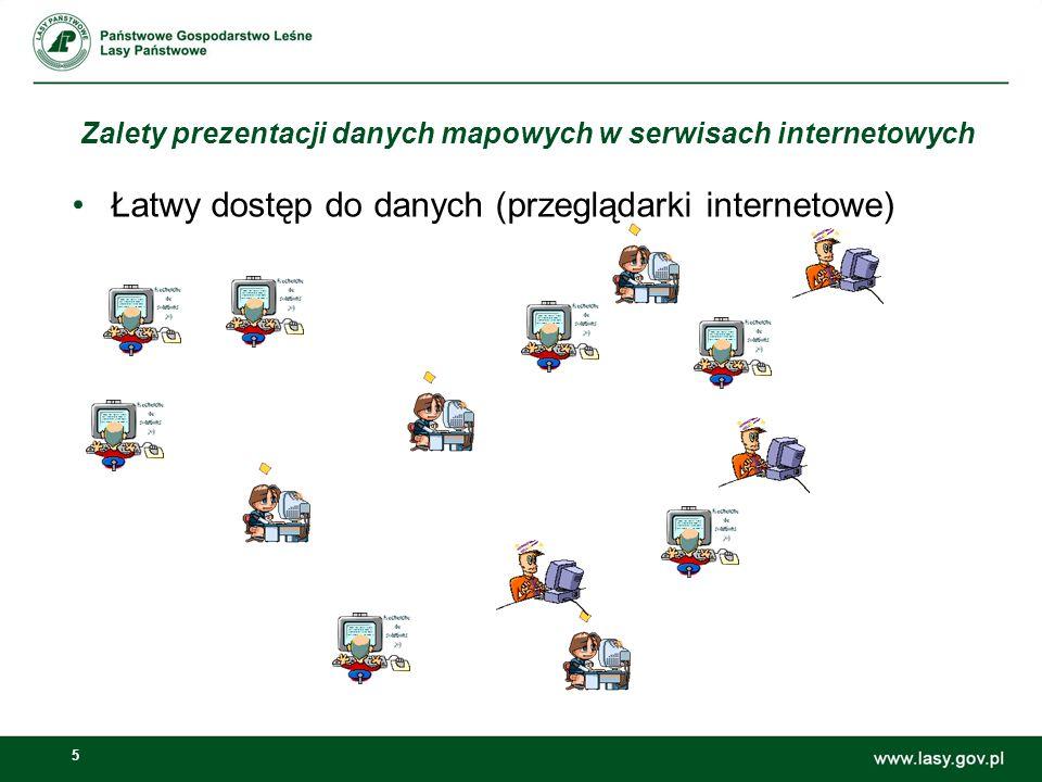 5 Zalety prezentacji danych mapowych w serwisach internetowych Łatwy dostęp do danych (przeglądarki internetowe)