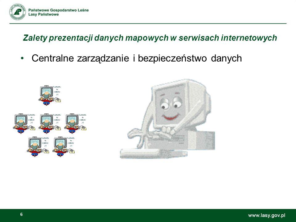 6 Zalety prezentacji danych mapowych w serwisach internetowych Centralne zarządzanie i bezpieczeństwo danych