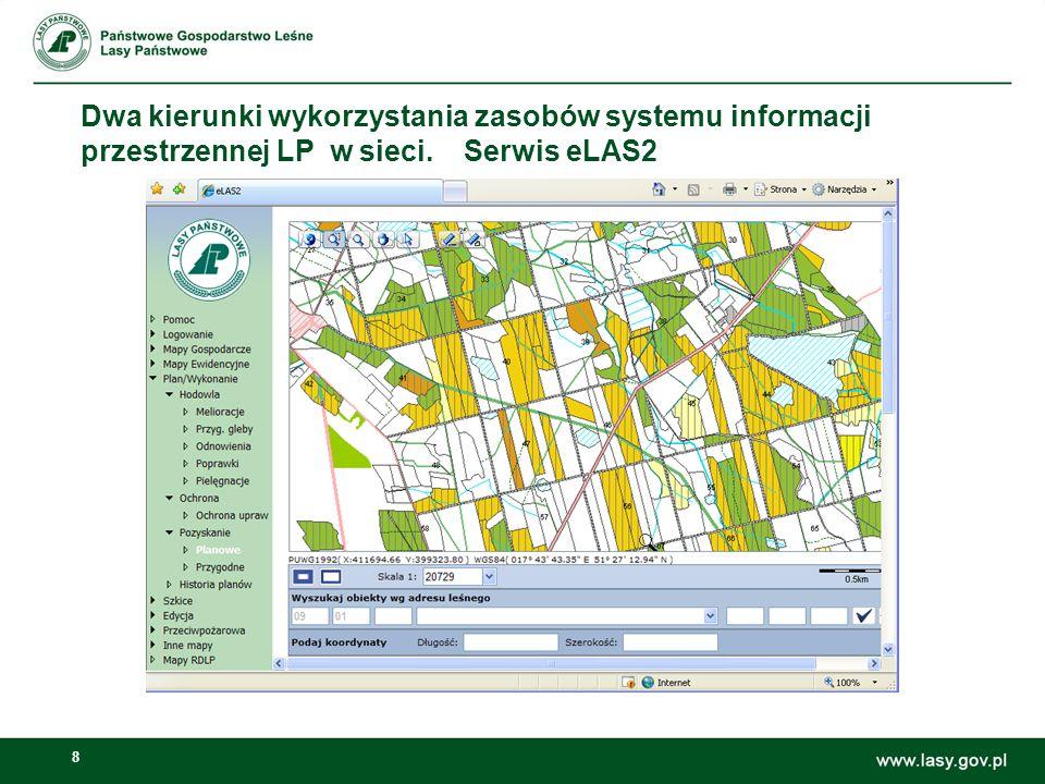 9 Dwa kierunki wykorzystania zasobów systemu informacji przestrzennej LP w sieci.