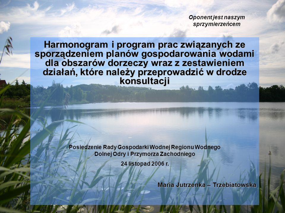 Harmonogram i program prac związanych ze sporządzeniem planów gospodarowania wodami dla obszarów dorzeczy wraz z zestawieniem działań, które należy przeprowadzić w drodze konsultacji Oponent jest naszym sprzymierzeńcem Posiedzenie Rady Gospodarki Wodnej Regionu Wodnego Dolnej Odry i Przymorza Zachodniego 24 listopad 2006 r.