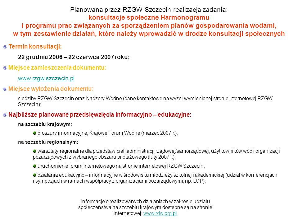 Planowana przez RZGW Szczecin realizacja zadania: konsultacje społeczne Harmonogramu i programu prac związanych za sporządzeniem planów gospodarowania wodami, w tym zestawienie działań, które należy wprowadzić w drodze konsultacji społecznych Termin konsultacji: 22 grudnia 2006 – 22 czerwca 2007 roku; Miejsce zamieszczenia dokumentu: www.rzgw.szczecin.pl Miejsce wyłożenia dokumentu: siedziby RZGW Szczecin oraz Nadzory Wodne (dane kontaktowe na wyżej wymienionej stronie internetowej RZGW Szczecin); Najbliższe planowane przedsięwzięcia informacyjno – edukacyjne: na szczeblu krajowym: broszury informacyjne; Krajowe Forum Wodne (marzec 2007 r.); na szczeblu regionalnym: warsztaty regionalne dla przedstawicieli administracji rządowej/samorządowej, użytkowników wód i organizacji pozarządowych z wybranego obszaru pilotażowego (luty 2007 r.); uruchomienie forum internetowego na stronie internetowej RZGW Szczecin; działania edukacyjno – informacyjne w środowisku młodzieży szkolnej i akademickiej (udział w konferencjach i sympozjach w ramach współpracy z organizacjami pozarządowymi, np.