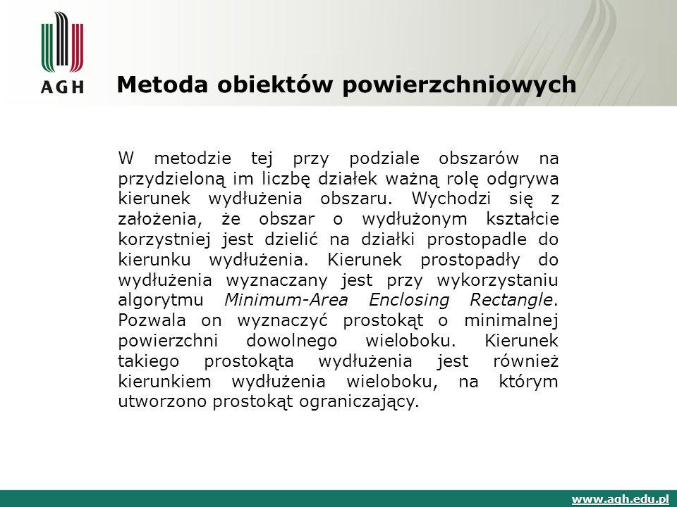 Metoda obiektów powierzchniowych www.agh.edu.pl W metodzie tej przy podziale obszarów na przydzieloną im liczbę działek ważną rolę odgrywa kierunek wydłużenia obszaru.