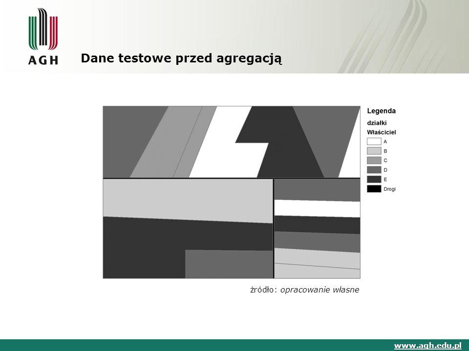 Dane testowe przed agregacją www.agh.edu.pl źródło: opracowanie własne