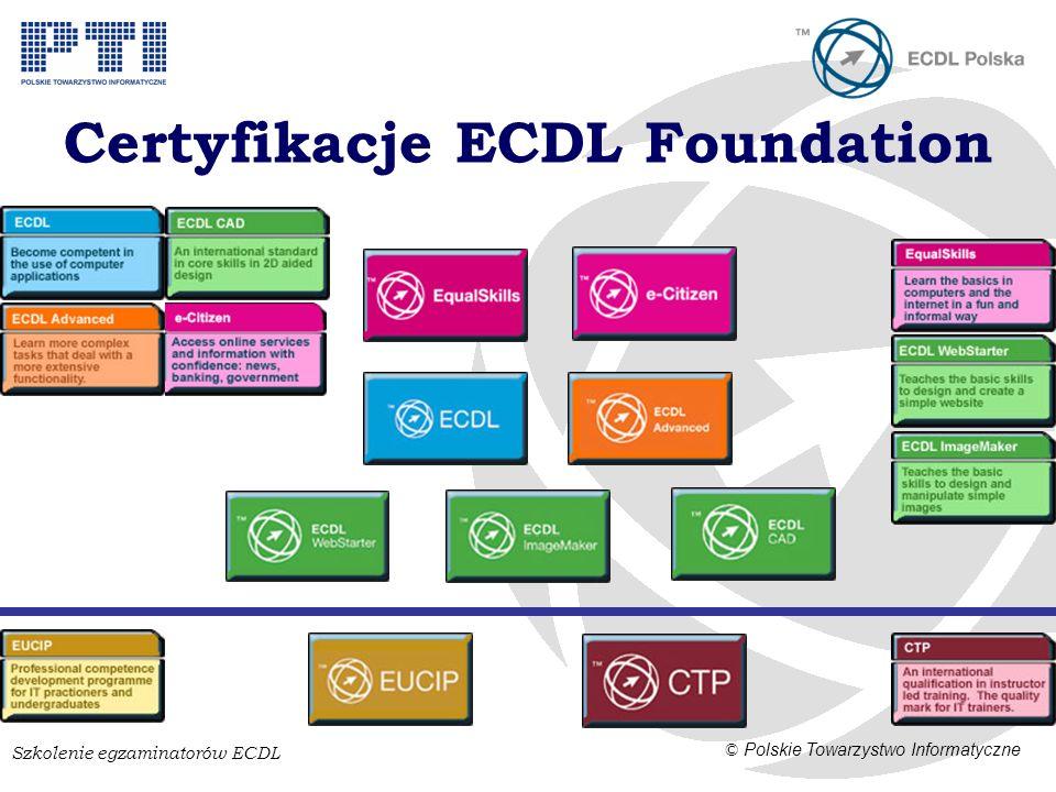 Szkolenie egzaminatorów ECDL © Polskie Towarzystwo Informatyczne Certyfikacje ECDL Foundation