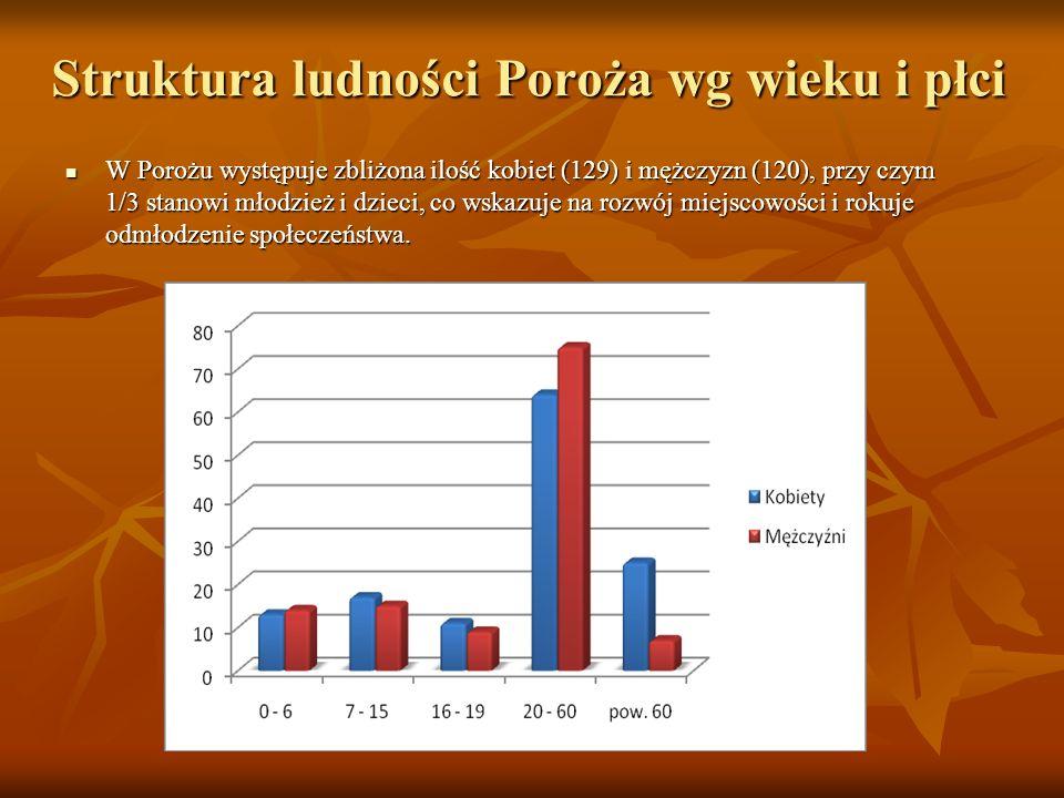 Struktura ludności Poroża wg wieku i płci W Porożu występuje zbliżona ilość kobiet (129) i mężczyzn (120), przy czym 1/3 stanowi młodzież i dzieci, co wskazuje na rozwój miejscowości i rokuje odmłodzenie społeczeństwa.