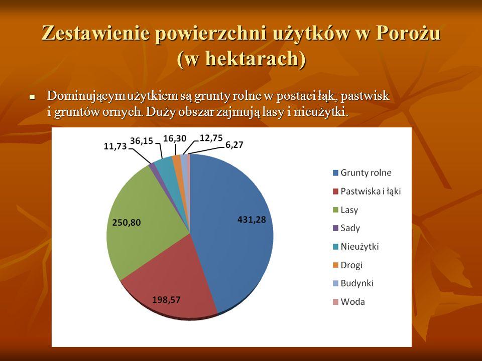 Zestawienie powierzchni użytków w Porożu (w hektarach) Dominującym użytkiem są grunty rolne w postaci łąk, pastwisk i gruntów ornych.