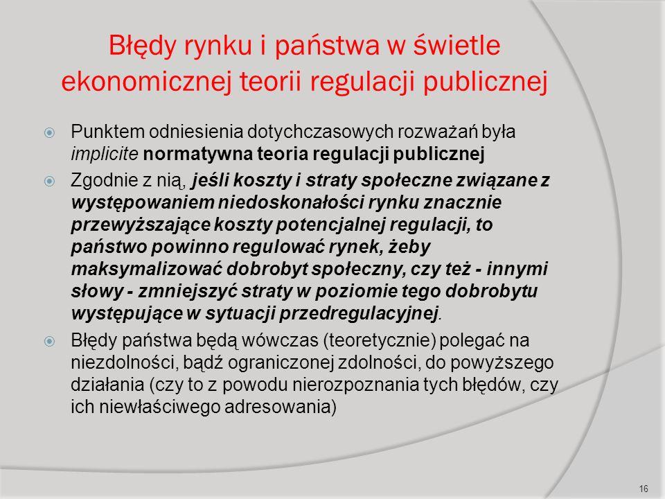 Błędy rynku i państwa w świetle ekonomicznej teorii regulacji publicznej  Punktem odniesienia dotychczasowych rozważań była implicite normatywna teoria regulacji publicznej  Zgodnie z nią, jeśli koszty i straty społeczne związane z występowaniem niedoskonałości rynku znacznie przewyższające koszty potencjalnej regulacji, to państwo powinno regulować rynek, żeby maksymalizować dobrobyt społeczny, czy też - innymi słowy - zmniejszyć straty w poziomie tego dobrobytu występujące w sytuacji przedregulacyjnej.
