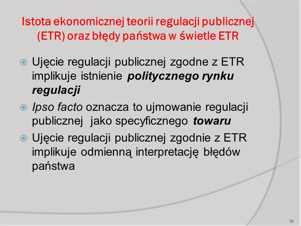 Istota ekonomicznej teorii regulacji publicznej (ETR) oraz błędy państwa w świetle ETR  Ujęcie regulacji publicznej zgodne z ETR implikuje istnienie politycznego rynku regulacji  Ipso facto oznacza to ujmowanie regulacji publicznej jako specyficznego towaru  Ujęcie regulacji publicznej zgodnie z ETR implikuje odmienną interpretację błędów państwa 19