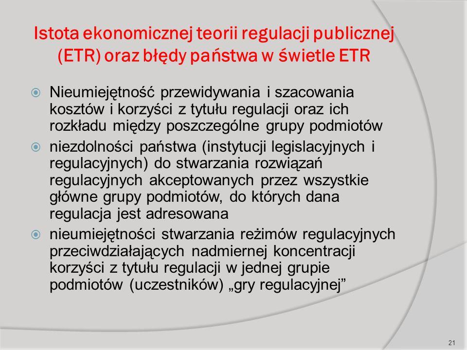 """Istota ekonomicznej teorii regulacji publicznej (ETR) oraz błędy państwa w świetle ETR  Nieumiejętność przewidywania i szacowania kosztów i korzyści z tytułu regulacji oraz ich rozkładu między poszczególne grupy podmiotów  niezdolności państwa (instytucji legislacyjnych i regulacyjnych) do stwarzania rozwiązań regulacyjnych akceptowanych przez wszystkie główne grupy podmiotów, do których dana regulacja jest adresowana  nieumiejętności stwarzania reżimów regulacyjnych przeciwdziałających nadmiernej koncentracji korzyści z tytułu regulacji w jednej grupie podmiotów (uczestników) """"gry regulacyjnej 21"""