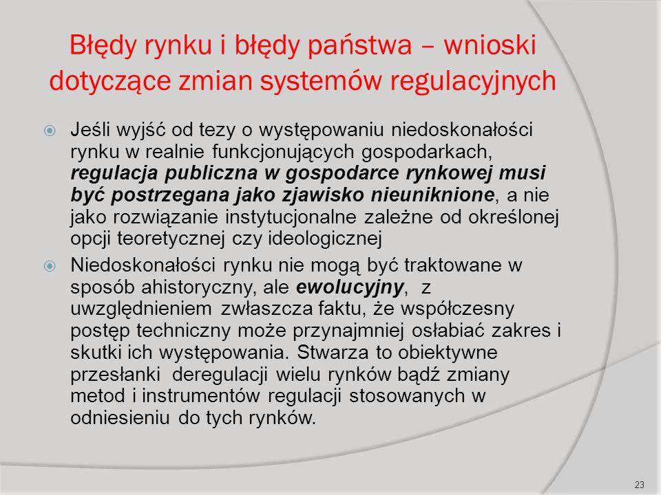 Błędy rynku i błędy państwa – wnioski dotyczące zmian systemów regulacyjnych  Jeśli wyjść od tezy o występowaniu niedoskonałości rynku w realnie funkcjonujących gospodarkach, regulacja publiczna w gospodarce rynkowej musi być postrzegana jako zjawisko nieuniknione, a nie jako rozwiązanie instytucjonalne zależne od określonej opcji teoretycznej czy ideologicznej  Niedoskonałości rynku nie mogą być traktowane w sposób ahistoryczny, ale ewolucyjny, z uwzględnieniem zwłaszcza faktu, że współczesny postęp techniczny może przynajmniej osłabiać zakres i skutki ich występowania.